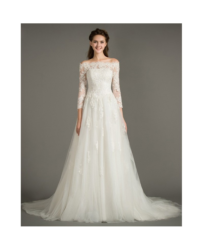 Dreamy A-Line Off-the-Shoulder Court Train Tulle Wedding Dress With Appliques Lace