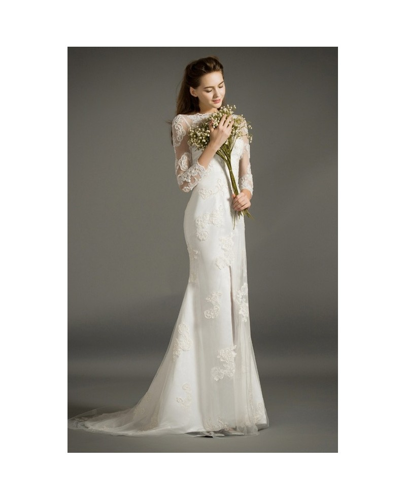 Stylish Sheath Scoop Neck Sweep Train Tulle Satin Wedding Dress With Appliques Lace