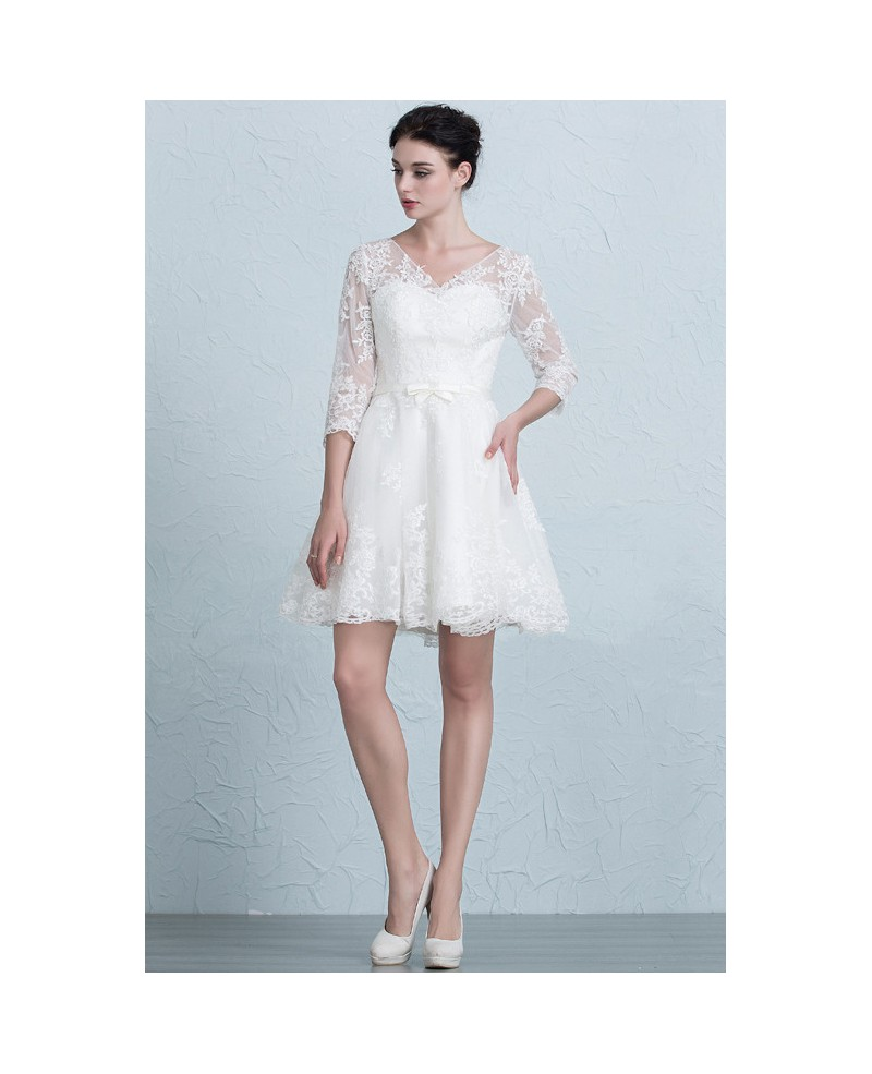 Stylish A-Line V-neck Short Tulle Wedding Dress With Appliques Lace