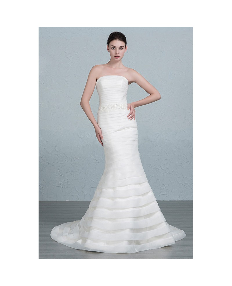 Elegant Mermaid Strapless Sweep Train Organza Wedding Dress With Beading